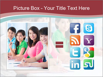Four students sitting in classroom PowerPoint Template - Slide 21