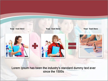 Four students sitting in classroom PowerPoint Template - Slide 22