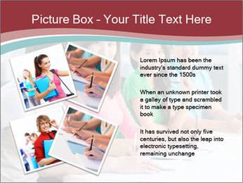 Four students sitting in classroom PowerPoint Template - Slide 23