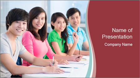 Four students sitting in classroom PowerPoint Template