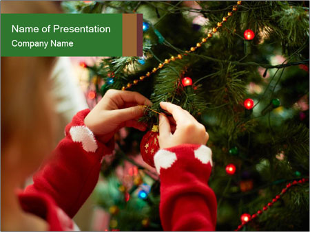 Child hanging decorative toy PowerPoint Templates