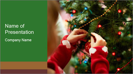 Child hanging decorative toy PowerPoint Template