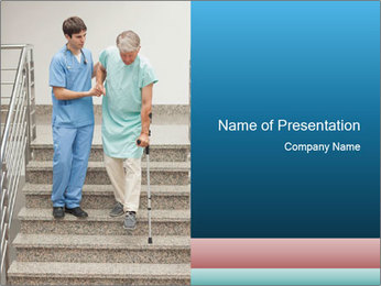 Male nurse assisting a patient PowerPoint Template - Slide 1
