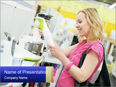 Woman choosing kitchen mixer PowerPoint Templates