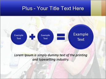 Woman choosing kitchen mixer PowerPoint Template - Slide 75