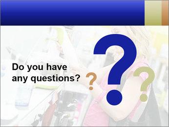 Woman choosing kitchen mixer PowerPoint Template - Slide 96