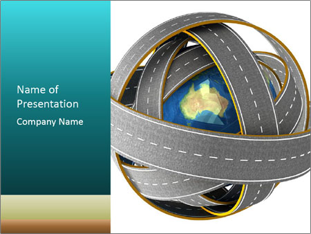 3d Globe and roads PowerPoint Template