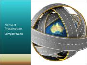 3d Globe and roads Modèles des présentations  PowerPoint