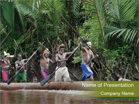 Ceremony of Asmat people PowerPoint Template