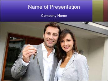 Couple holding door keys PowerPoint Templates - Slide 1