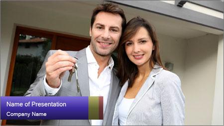 Couple holding door keys PowerPoint Template