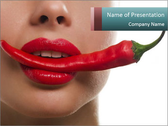 Female lips PowerPoint Templates - Slide 1