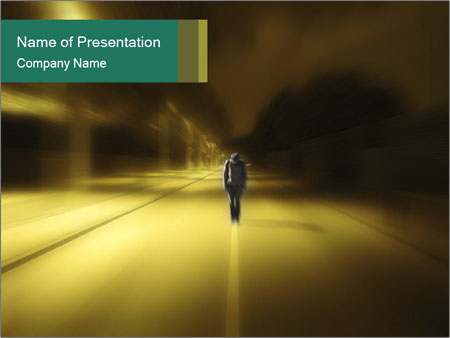 Darkness on the middle of road PowerPoint Templates