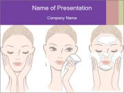 Woman in process of washing face PowerPoint Templates