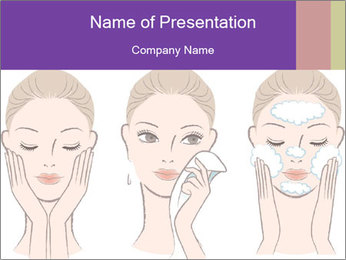 Woman in process of washing face PowerPoint Templates - Slide 1