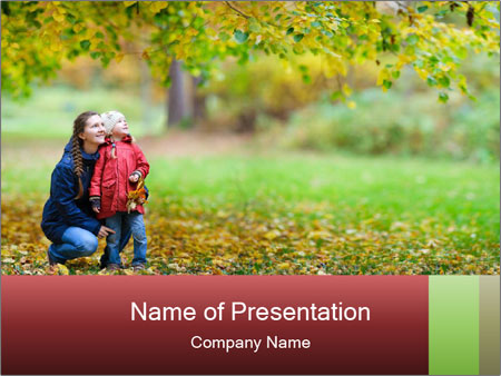 Beautiful autumn park PowerPoint Template
