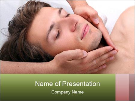 Man enjoying face massage PowerPoint Templates