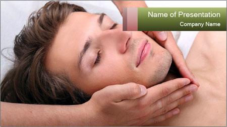 Man enjoying face massage PowerPoint Template