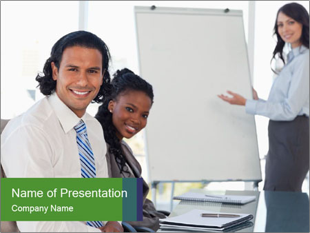 Meeting room during a presentation PowerPoint Template