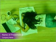 A girl laying on the Floor PowerPoint Templates