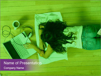 A girl laying on the Floor PowerPoint Templates - Slide 1