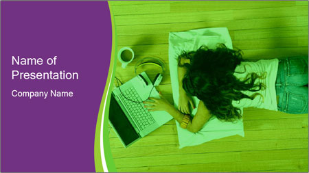 A girl laying on the Floor PowerPoint Template