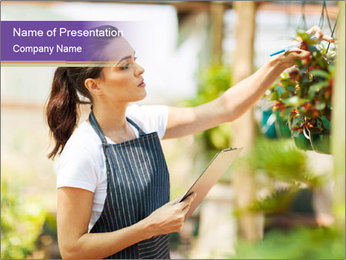 Florist checking flowers PowerPoint Template - Slide 1