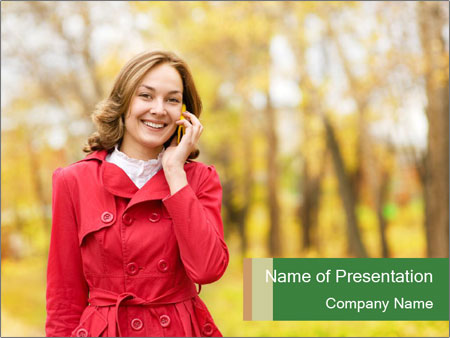 Woman talking on phone PowerPoint Template