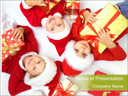 Three children in Christmas PowerPoint Templates