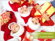 Three children in Christmas PowerPoint Templates