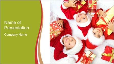 Three children in Christmas PowerPoint Template