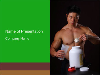 Body Builder pouring a scoop of protein PowerPoint Template - Slide 1