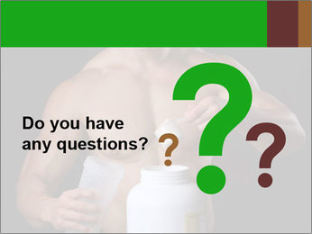 Body Builder pouring a scoop of protein PowerPoint Template - Slide 96