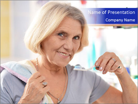 Woman brushing her teeth PowerPoint Templates