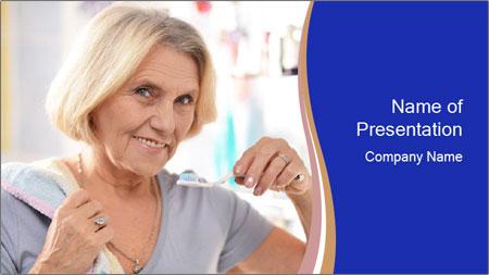 Woman brushing her teeth PowerPoint Template