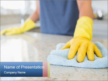 Woman cleaning kitchen PowerPoint Template