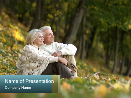 Happy old people sitting PowerPoint Template