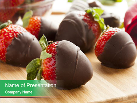 Gourmet Chocolate Covered Strawberries PowerPoint Templates