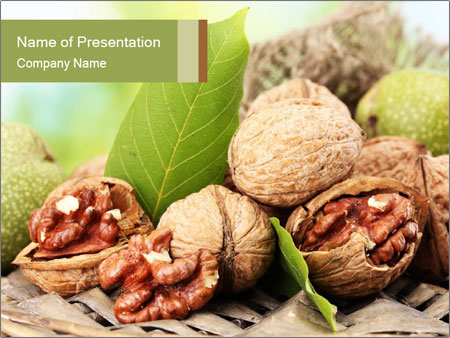 Walnuts with green leaves PowerPoint Templates