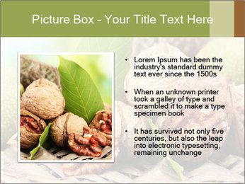 Walnuts with green leaves PowerPoint Templates - Slide 13