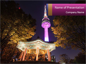 A night time shot of N Seoul tower PowerPoint Template - Slide 1
