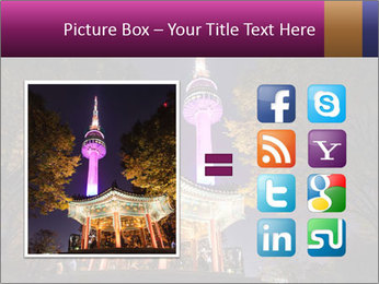 A night time shot of N Seoul tower PowerPoint Templates - Slide 21