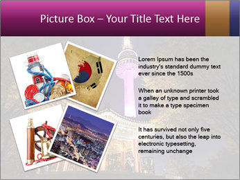 A night time shot of N Seoul tower PowerPoint Template - Slide 23