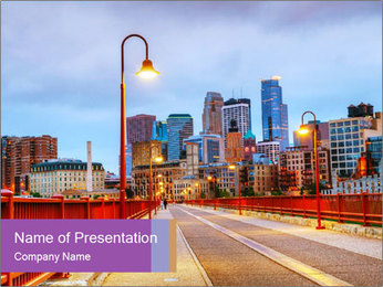Downtown Minneapolis PowerPoint Template - Slide 1