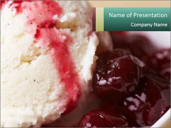 Scoop of homemade vanilla ice cream PowerPoint Template - Slide 1