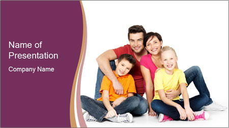 Portrait of the happy family PowerPoint Template