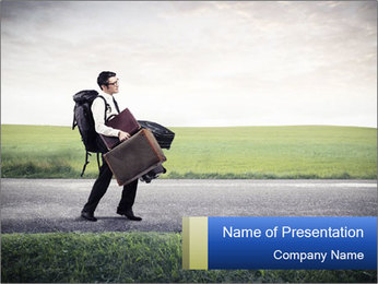 Businessman walking PowerPoint Templates - Slide 1