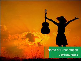 Woman and guitar PowerPoint Templates - Slide 1