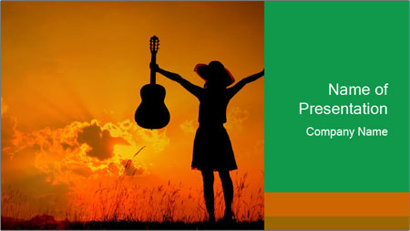 Woman and guitar PowerPoint Template