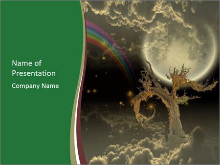 Tree moon stars PowerPoint Templates